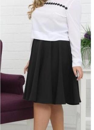 Женская юбка миди большой размер # чёрная юбка миди # faded glory
