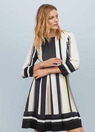 Платье миди платье клеш h&m вертикальная полоска сукня в офіс плаття міді сукня кльош
