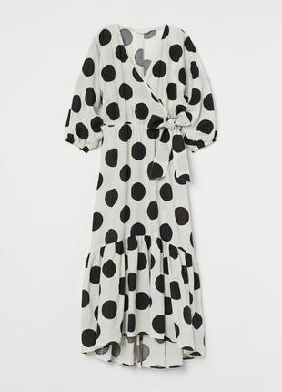 Стильное платье  сарафан в горох h&m премиум лен и хлопок оверсайз тренд сезона лето 20203 фото