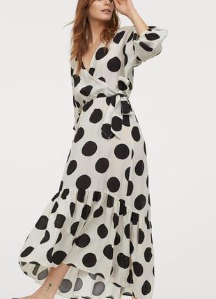 Стильное платье  сарафан в горох h&m премиум лен и хлопок оверсайз тренд сезона лето 2020