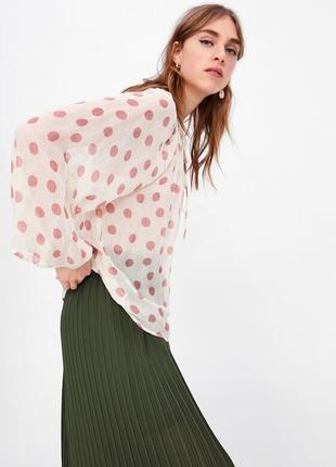 Zara текущая коллекция!!блуза с объёмными расклешёнными рукавами оверсайз принт горох