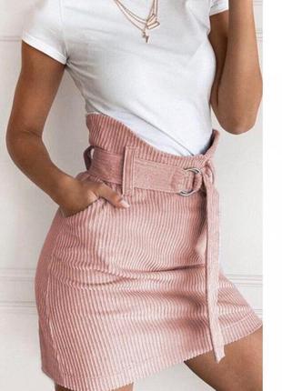 Модная вельветовая пудровая  юбка с высокой талией