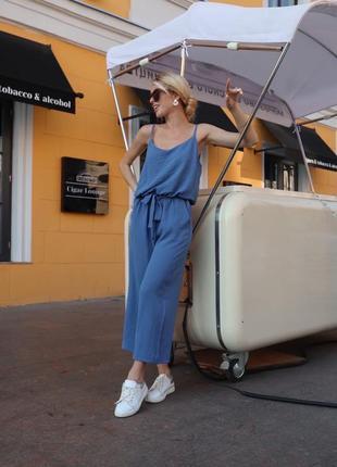 Шикарный комбенизон комбез кюлоты топ хаки розовый синий джинс