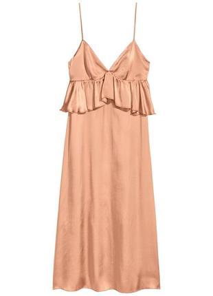 Атласное платье с v-образным вырезом h&m
