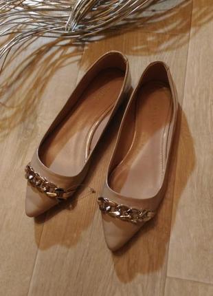 Бежевые пудровые туфли лодочки kurt geiger острый носок, размер 37