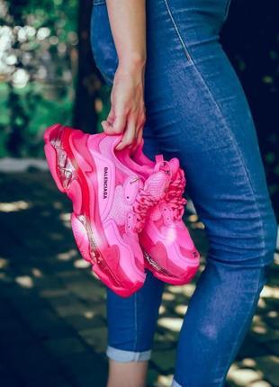 Кроссовки balenciaga triple s clear sole neon pink