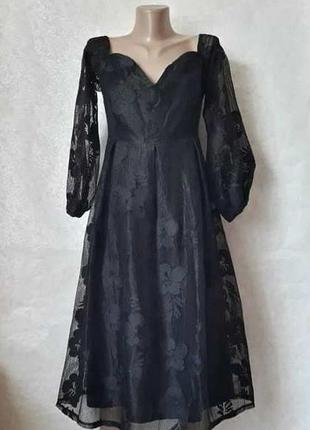 Фирменное boohoo шикарное нарядное платье миди с вышивкой на ткани, размер 3хл