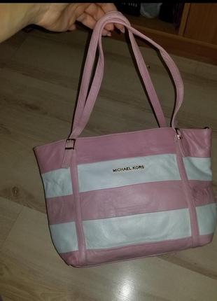 Розовая и белая сумка.кожа.
