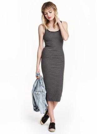 Крутое повседневное длинное платье в полоску