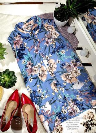 Синяя блузка в цветочки от george