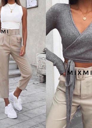Бежевые укороченные брюки женские штаны с поясом