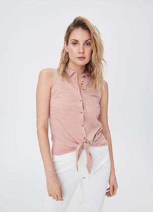 Новая пудра розовая рубашка без рукавов майка пуговицы топ завязки польша xs s m l xl