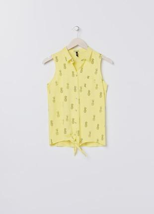 Новая желтая рубашка без рукавов ананас майка пуговицы топ с завязками польша xs s m xl
