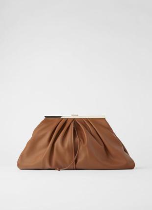 Кожаная сумка - клатч pouch zara, натуральная кожа, сумка из кожи