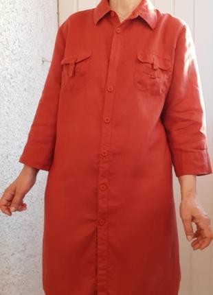 Удлиненная льняная рубашка лен льон