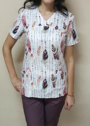 Женская медицинская кофта с перьями,хлопковая блуза