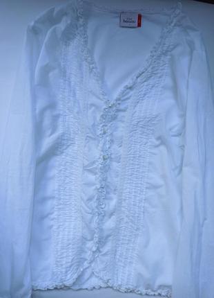 Белоснежная стильная блуза хлопок
