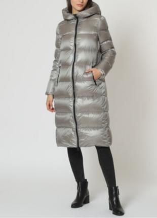 Новый длинный пуховик hox италия пальто на пуху куртка дутик серо-серебристый