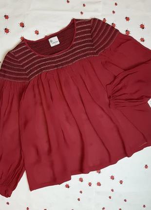 🌿1+1=3 стильная шифоновая красная свободная блуза блузка istella forest, размер 44 - 46