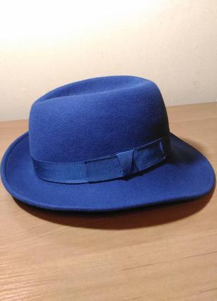Фетровая шляпа цвета электрик, ярко синяя ультамарин 56см