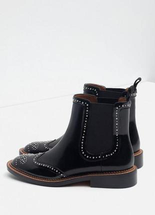 Натуральные кожаные ботинки, сапоги с заклепками, челси zara