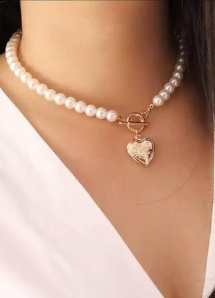 Чокер жемчуг жемчужный сердечко сердце подвеска
