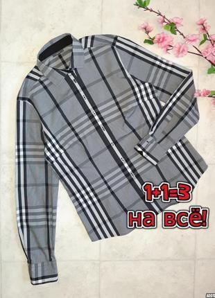 1+1=3 стильная фирменная рубашка блуза в клетку с длинным рукавом eterna, размер 44 - 46