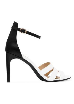 Jessica simpson оригинал босоножки черно-белые кожаные на шпильке из сша