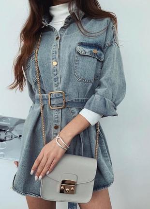 Джинсовое платье-туника с поясом