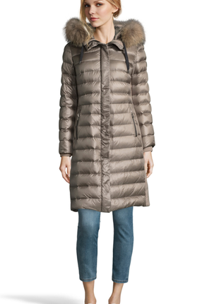 Новый пуховик giesswein, австрия премиум пальто на пуху куртка тауп мех 100% пух