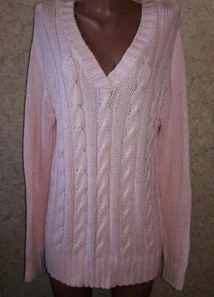 Нежно-розовый свитер с люрексом