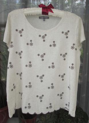 Шикарная брендовая натуральная футболка с вышивкой лен-вискоза laura ashley.