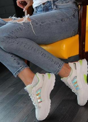 Кроссовки с зеленой отделкой, кроссовки, кеды, мокасины 36-40
