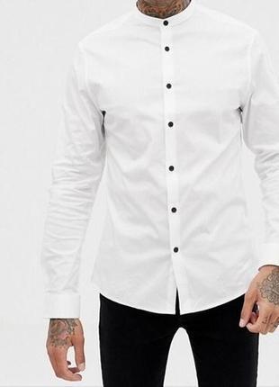Белая мужская рубашка воротник стойка ( без воротника )