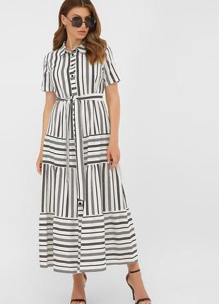 Летнее платье в бело-черную полоску s, m, l, xl