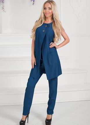 Элегантный легкий джинсовый брючный костюм, размер xs-s