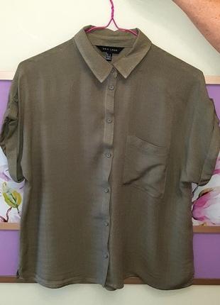 🌿1+1=3 стильная свободная блуза рубашка с карманом оверсайз new look, размер 44 - 46