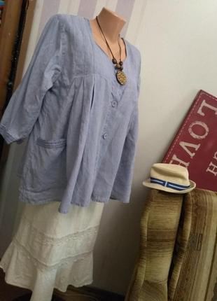 100& лен💙, блуза, рубаха, голубого цвета, большой размер, этно бохо стиль