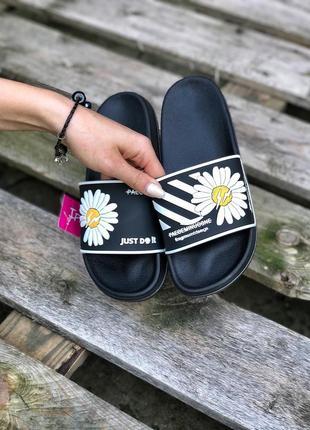 Шикарные женские сланцы шлёпанцы пляжные тапочки off-white чёрные с белым2 фото