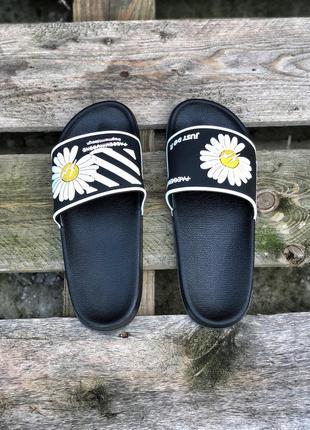 Шикарные женские сланцы шлёпанцы пляжные тапочки off-white чёрные с белым4 фото