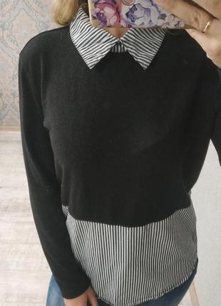 Стильный легкий свитерок двойка рубашка+свитер