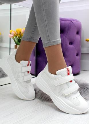 Кроссовки белые текстиль