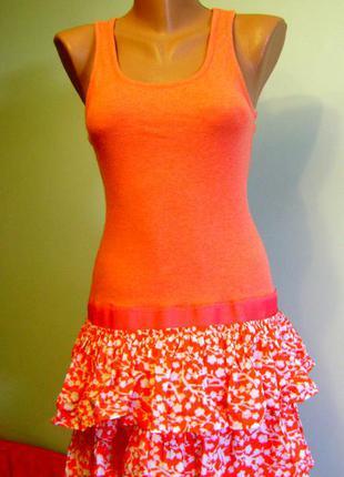 Коттонове платье оранжевого цвета, размер м