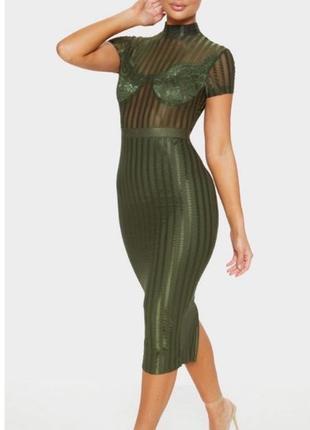 Зелёное платье миди с кружевом😍