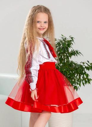 Очень красивый эффектный костюм блуза и юбочка есть размеры от 3-х до 12 лет