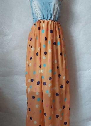 Молодёжный сарафан-бюстье: верх с джинса, низ в цветной горох, размер с-м