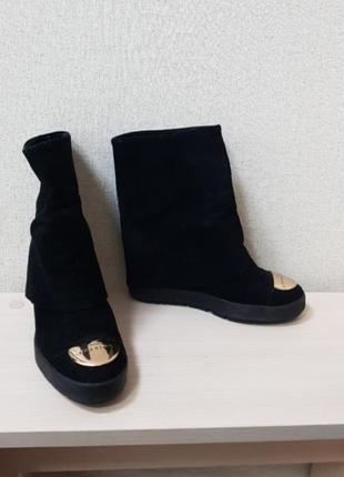 Чёрные замшевые сапожки женские 38 размер