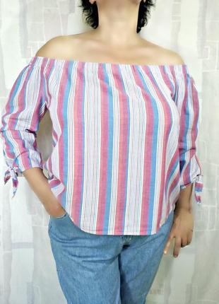 Полосатая блузка с открытыми плечами, 100% хлопок