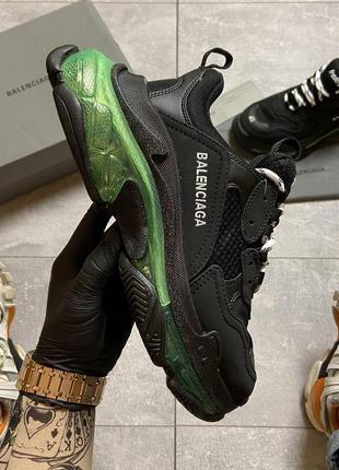 👟 кроссовки  balenciaga triple s clear sole black/green.  / наложенный платёж bs👟