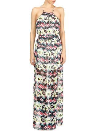 Великолепное длинное шифоновое платье в пол красивая спина pepe jeans